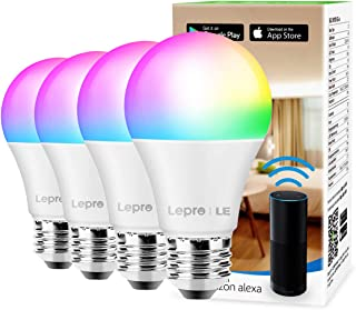 Smart WiFi Light Bulbs, LED Color Changing Lights, Works with Alexa & Google Home, RGBW 2700K-6500K, 60 Watt Equivalent, Dimmable with App, A19 E26, No Hub Required, 2.4GHz WiFi (4 Pack)