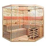 Home Deluxe - Traditionelle Sauna - Skyline XL BIG Kunststeinwand - Holz: Hemlocktanne - Maße: 200 x 200 x 210 cm | Dampfsauna Aufgusssauna Finnische Sauna