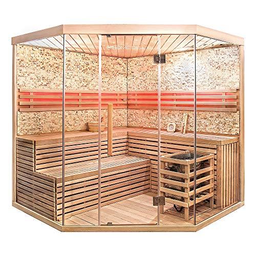Home Deluxe – Sauna tradizionale – Skyline XL Big muro in pietra artificiale – Legno di abete – Dimensioni: 200 x 200 x 210 cm – Accessori inclusi