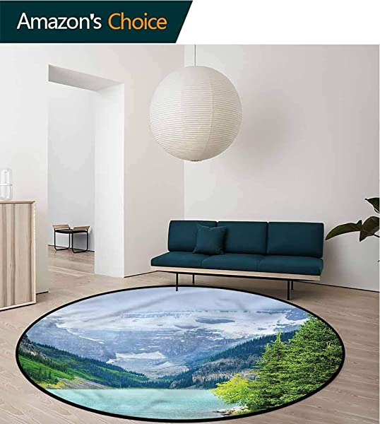 RUGSMAT Landscape Warm Soft Cotton Luxury Plush Baby Rugs High Snow Covered Hills Non Skid Bath Mat Living Room Bedroom Carpet Diameter 24