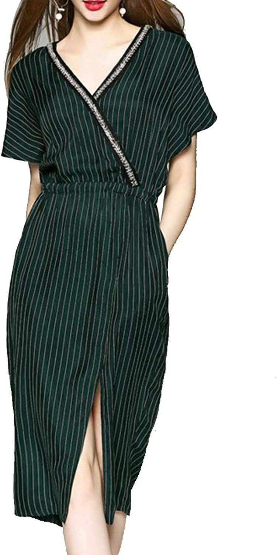 CTARCROW Deep VNeck Long Sleeve Stripe Midi Dress Elegant Split Party Dresses with Pocket Women's