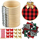 Caydo 12 Pieces Embroidery Kitincluding 3 Inch Embroidery Hoops, Plaid Fabric and Bows for DIY Decoration