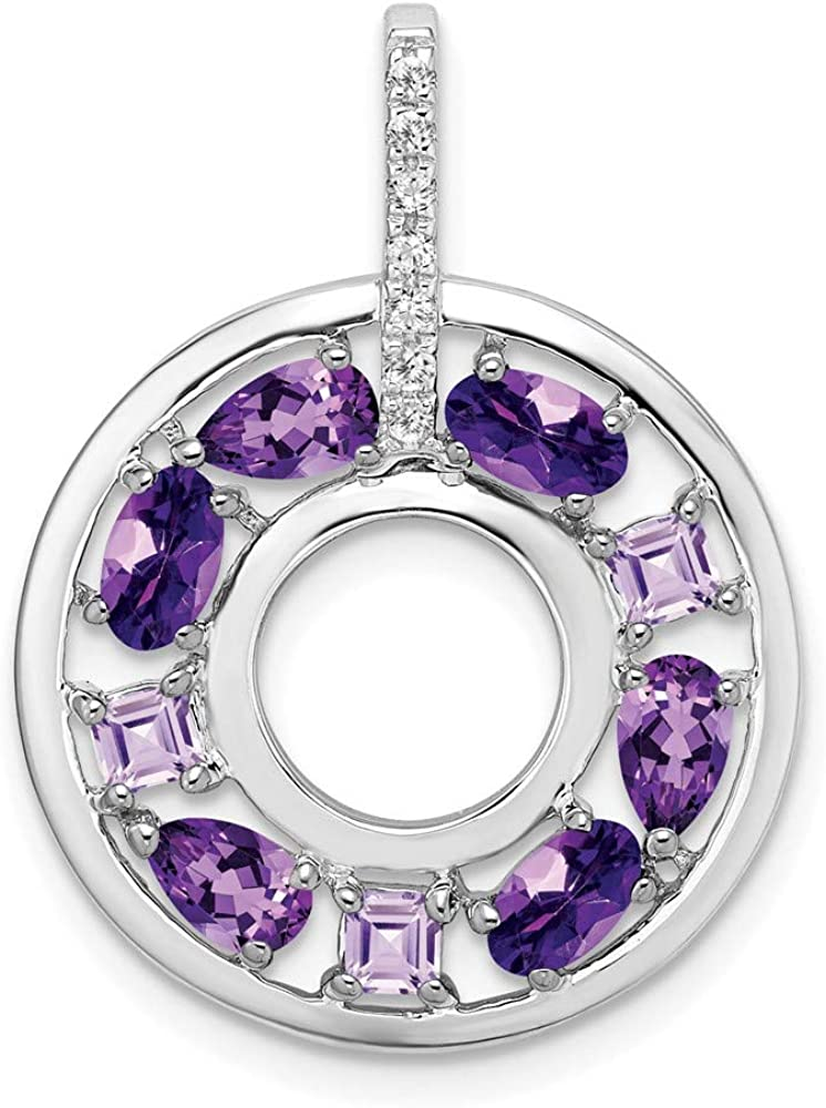 Carat in Karats Sterling Silver Cz Simulated Popular New life Circle and Amethyst