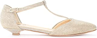 L'ARIANNA Woman's Ballerina in Platinum Lurex with T-Strap with Buckle