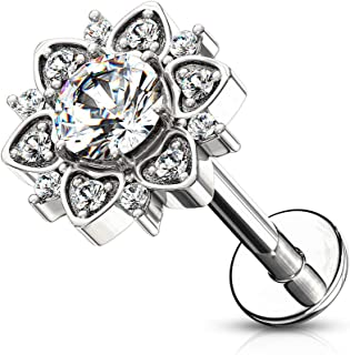 16G Paved CZ Flower with Round Crystal Center Labret Piercing Stud Surgical Steel Internally Threaded Monroe Lip Ring Helix Earring