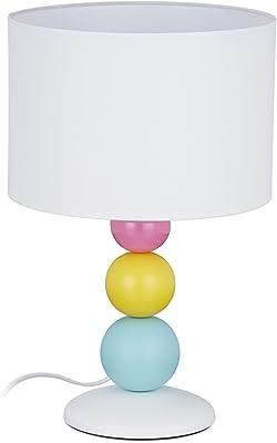 Relaxdays 10028040 Lampe de Table, veilleuse avec Pied Boule coloré, Douille E14, Abat-Jour Rond, HxD 40,5 x 26 cm, Blanc, 5 x 26 x 26 cm