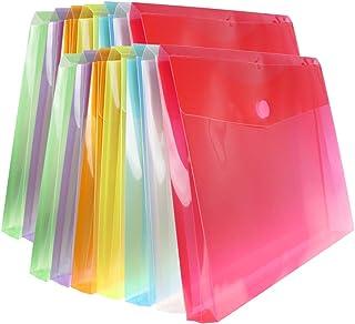 "Poly File Envelopes Letter Size with Hook & Loop Closure 1"" Expansion Folder Assorted Color Office Paper Organizer 14PCS"