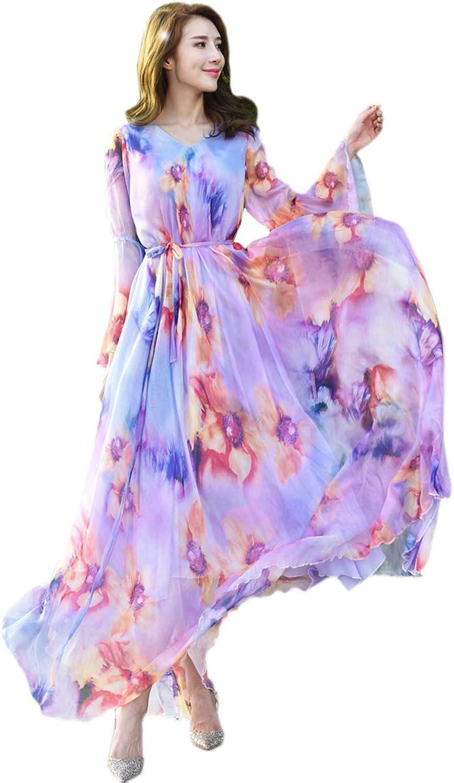 Medeshe Women's Summer Peacock bluee Floral Long Beach Maxi Dress Lightweight Sundress