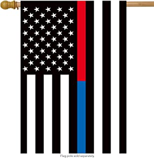 Briarwood Lane Thin Blue & Red Line House Flag Police Firefighter 28