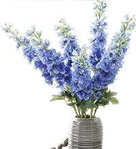Gumolutin 1 stem Artificial Silk Flowers Long Stem Delphinium for Home Office Indoor Outdoor Wedding Decoration Festive Fu...