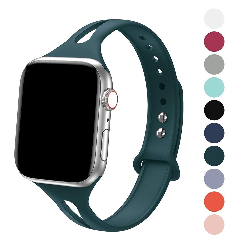 メディック出口とげFRESHCLOUD コンパチブル apple watch バンド アップルウォッチバンド スポーツバンド シリカゲルバンド apple watch series5 4 3 2 1に対応 38mm 40mm おしゃれ 交換ベルト 柔らかいシリコン素材 (ダークグリーン)