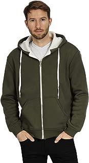 Mens Heavyweight Sherpa Lined Hoodie Zip Up Jacket Thermal Full Zip Hooded Fleece Sweatshirt