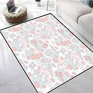 Doodle Bath Rugs for Bathroom Cartoon Styled Cute Cats Bats and Skulls Japanese Inspired Kawaii Design Door Mat Living Room Non-Slip 60 X 96 Inch