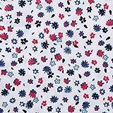 Dekoth カット生地 100%綿 布 カットクロス 花柄 プリント生地 軽い平織り はぎれDIY手作り ハンドメイド キルティング パッチワーク布 (100x142cm) (白い 青赤の花柄)