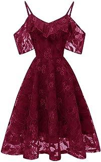 JUTOO Damen Kleid Sommer Dress Weinlese A-Linie Prinzessin Floral Lace Cocktail, Ausschnitt-Partei-Schwingen-Kleid, beiläufige, Art und Weise