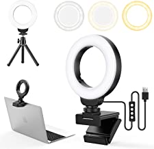 FDKOBE 4' Small Ring Light for Laptop/Computer, Zoom Call Lighting, Video Conference Lighting with Webcam Style Mount and Tripod, Webcam Light, 3 Light Modes & 10 Brightness Levels, Selfie, Makeup