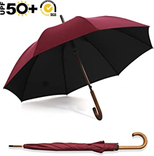 ABCCANOPY Umbrella Rain&Wind Teflon Repellent Wooden J Handle Classic Golf Umbrella Windproof UV Protection 50+ Stick Umbrellas(Wooden Red)