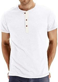 34d9e3887cce0 Cyiozlir Homme T-Shirt Manches Longues Shirt Manche Courte Tee Shirt Col  Tunisien Uni Henley