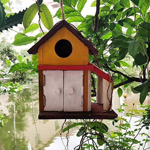 GFDE Pajarera Colgando Cabina La decoración for el pequeño pájaro Birdhouse Retro Creativo de la Aguja al Aire Libre de Madera Birdhouse casa del pájaro Adorno de jardín