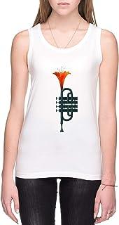 Trompeta Flor Mujer Camiseta De Tirantes Blanco Todos Los Tamaños Women's Tank T-Shirt White