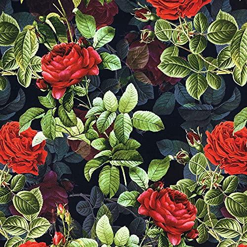 novely® OXFORD 210D   1 lfm   Polsterstoff Gemustert Outdoor Dekostoff Wasserabweisend Reißfest   Rote Rosen