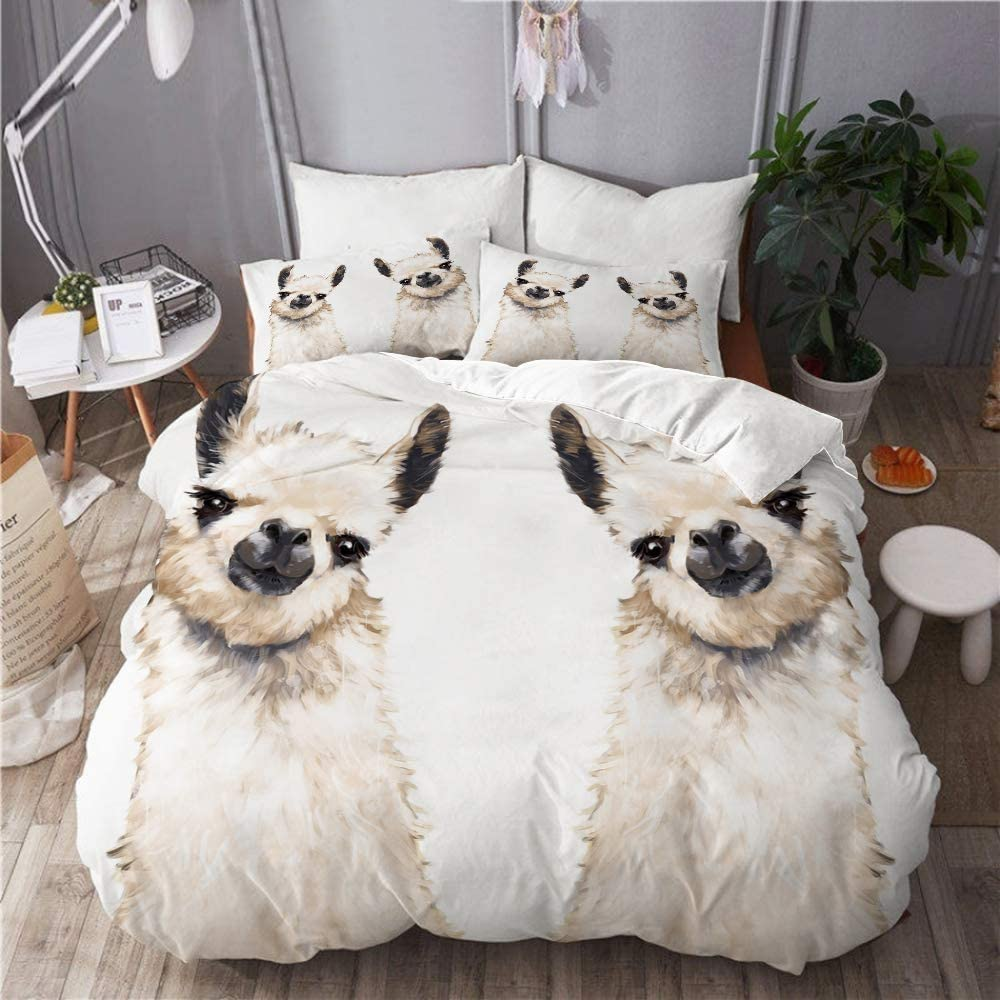 EMYPCH 3 Piece Duvet Cover Set King - Cute Sheep Max 83% OFF Popular brand in the world Size Llamas Uni