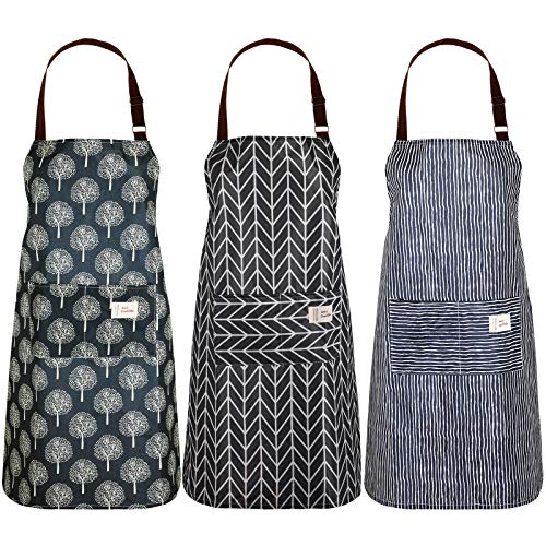 SATINIOR 3 Stück Frauen Wasserdichte Schürze mit Taschen Verstellbare Kochschürzen Küchen Lätzchen Schürze zum Kochen Backen Haushalt Reinigung, Wald, Streifen und Karierter Stil (Schwarz und Grau)