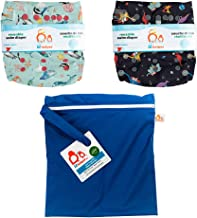 Lil Helper Reusable Swim Diapers with Waterproof Zipper Wetbag (Pack of 2) (C - Narwhals, Space Dinos, Dark Blue)