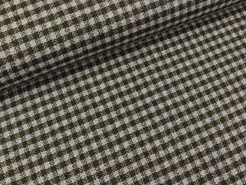 Swafing Tweed Sofia - Tela de cuadros verde oliva-gris claro