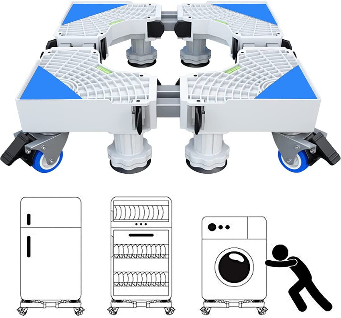 Base Lavadora, Ajustable Soporte Lavadora para Nevera Secadora, Movil Electrodomesticos, Largo/Ancho 45-68 cm, Altura 10-12 cm,Carga 300 kg