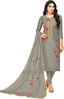 Rajnandini Women's Silk Dress Material (JOPLMF506_Grey_Free)
