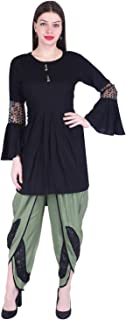 A.S. Creation Women's Rayon Black Solid Asymmetric Kurti with Dhoti Pant(AS-141P11_Black)