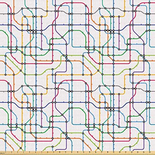 ABAKUHAUS Kaart Stof per strekkende meter, Kleurrijke Lijnen Metro Scheme, Stretch Gebreide Stof voor Kleding Naaien en Kunstnijverheid, 3 m, Veelkleurig