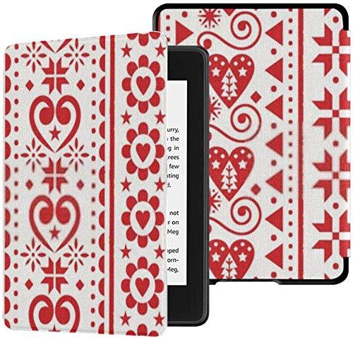 Funda de Tela Kindle Paperwhite Resistente al Agua (10a generación, versión 2018), Funda de Tableta escandinava de Patrones sin Fisuras Verticales de Navidad Vector