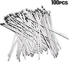 """Lucky Monet 100Pcs 15.8"""" 304 Stainless Steel Grade Metal Self Locking Cable Ties Zip Wraps"""