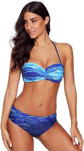 QIAO Bikini d'été pour Femme, dégradé Impression élingue Suspendu Taille Basse Triangle Maillot de Bain Deux pièces Quick-Drug Sugar (Rouge Bleu) S - XL,B,S