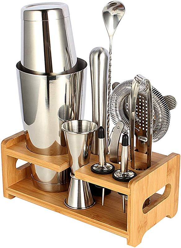 Cocktail Shaker Set Expert Bartender Kit 20 27 Oz Stainless Steel Bar Tools Kit With Stand All In One For Drink Mixing Set 10 Piece Set