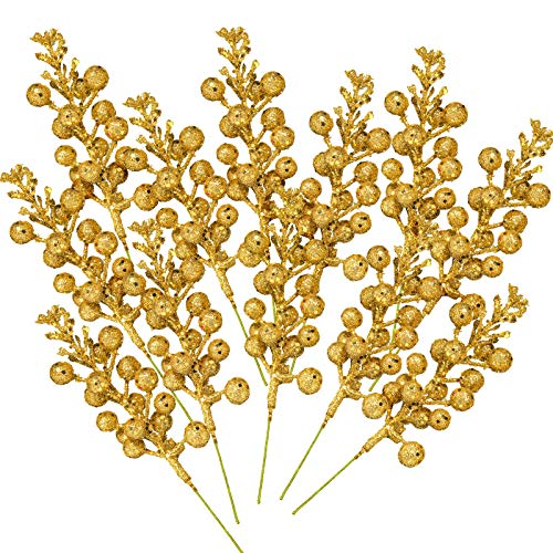 Whaline 12Pcs Christmas Glitter Berries Stems 8.3 Inch Artificial Fruit Berry Picks Holly Berry Twig for Xmas Tree Ornament DIY Craft Christmas Wreath Garland Winter Holiday Decoration, Gold