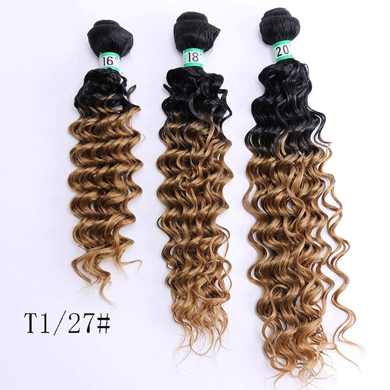罰する兵隊同等のYrattary ディープカーリーウェーブ3バンドルブラジルのヘアエクステンション滑らかで太い髪70 g /個16 18 20インチ - T1 / 27#茶色のグラデーション複合毛レースのかつらロールプレイングかつら長くて短い女性自然 (色 : Gradient, サイズ : 18