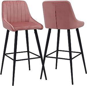Duhome 2X Sgabelli da Bar Tessuto (Velluto) Rosa Quadrato con Schienale Piedini in Metallo Selezione Colore 5162