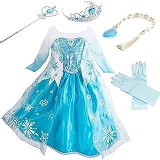 YOGLY Mädchen Prinzessin Elsa Kleid Kostüm Eisprinzessin Set aus Diadem, Handschuhe, Zauberstab, Größe 110, 07 Kleid und Z...