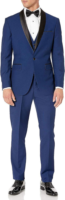 Adam Baker Men's 100% Wool Modern Fit Single Breasted Three Piece Shawl Collar Tuxedo - Colors