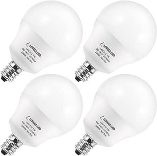 LOHAS A15 Candelabra Bulb E12 Base, Globe Light Bulb 40W-60W Equivalent, G14 Tiny LED Soft White 3000K, 5W LED Bulbs, 600 Lumens, Ceiling Fan Light, 240 Degree Beam Angle, Non Dimmable(4 Pack)
