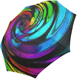 InterestPrint Abstract Rainbow Swirl Spiral Windproof Automatic Folding Travel Umbrella, Psychedelic Tie Dye Lightweight Compact Aoto Open and Close Umbrella with UV Protection