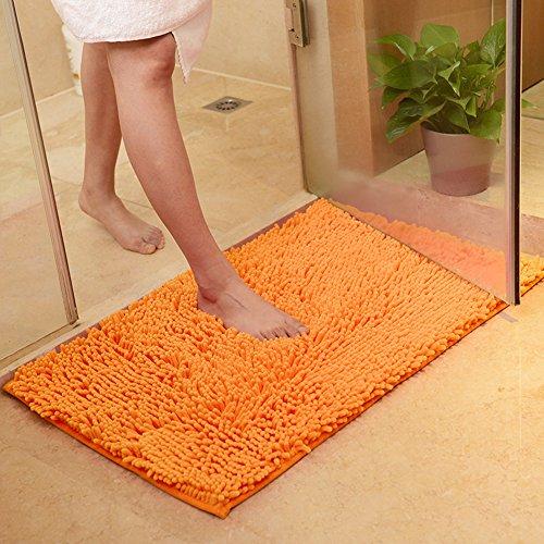 DOTBUY Tapis de Salle de Bain, Chenille Super Absorbant Anti-dérapant Tapis de Bain Confortable Tapis de Salle de Bain Tapis de Douche (50 * 80cm, Orange)