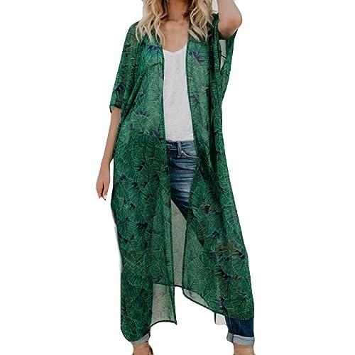 046ff71a0b Women Fashion Chiffon Print Long Coat Tops Suit Bikini Swimwear Beach  Swimsuit Smock Casual Long Kimono