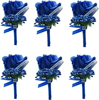 Bomandu 6PCS Artificial Rose Boutonniere Silk Men Corsage Groom Flowers Brooch with Pin and Clip for Wedding Prom Party(Royal Blue)