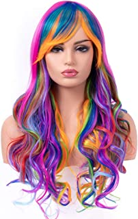 BESTUNG Long Curly Wavy Multi Colorful Rainbow Wigs for Women Ladies Costume Synthetic Full Hair Natural Brunette Wig