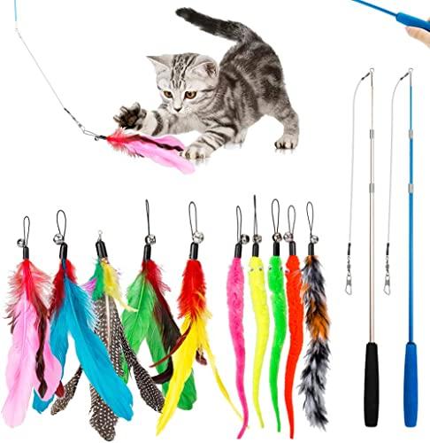 JIARON Feather Teaser Cat Toy, 2PCS Retractable Cat Wand Toys and 10PCS Replacement Teaser with Bell Refills, Interac...