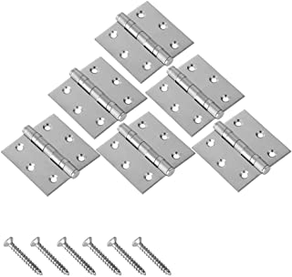 JQK Commercial Grade Stainless Steel Hinges, Thickened Closet Door Hinge with Soft Close Ball Bearing, Brushed Finish 3-1/...